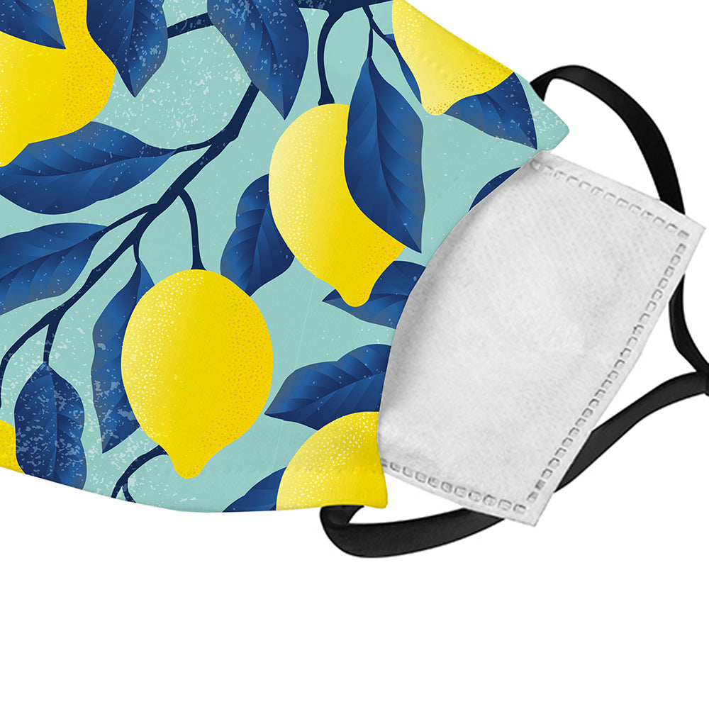 Printed Face Mask - Lemon Fresh Pattern Design