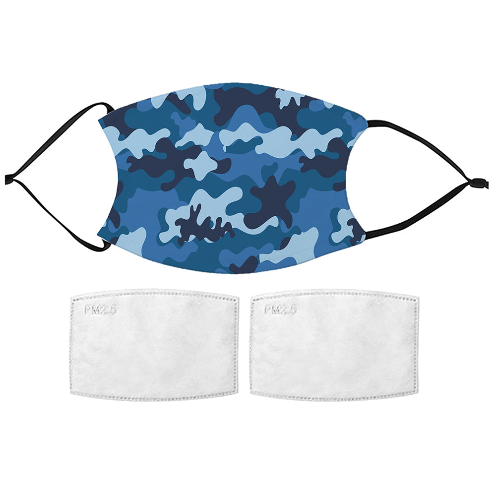 Printed Face Mask - Blue Camo Design