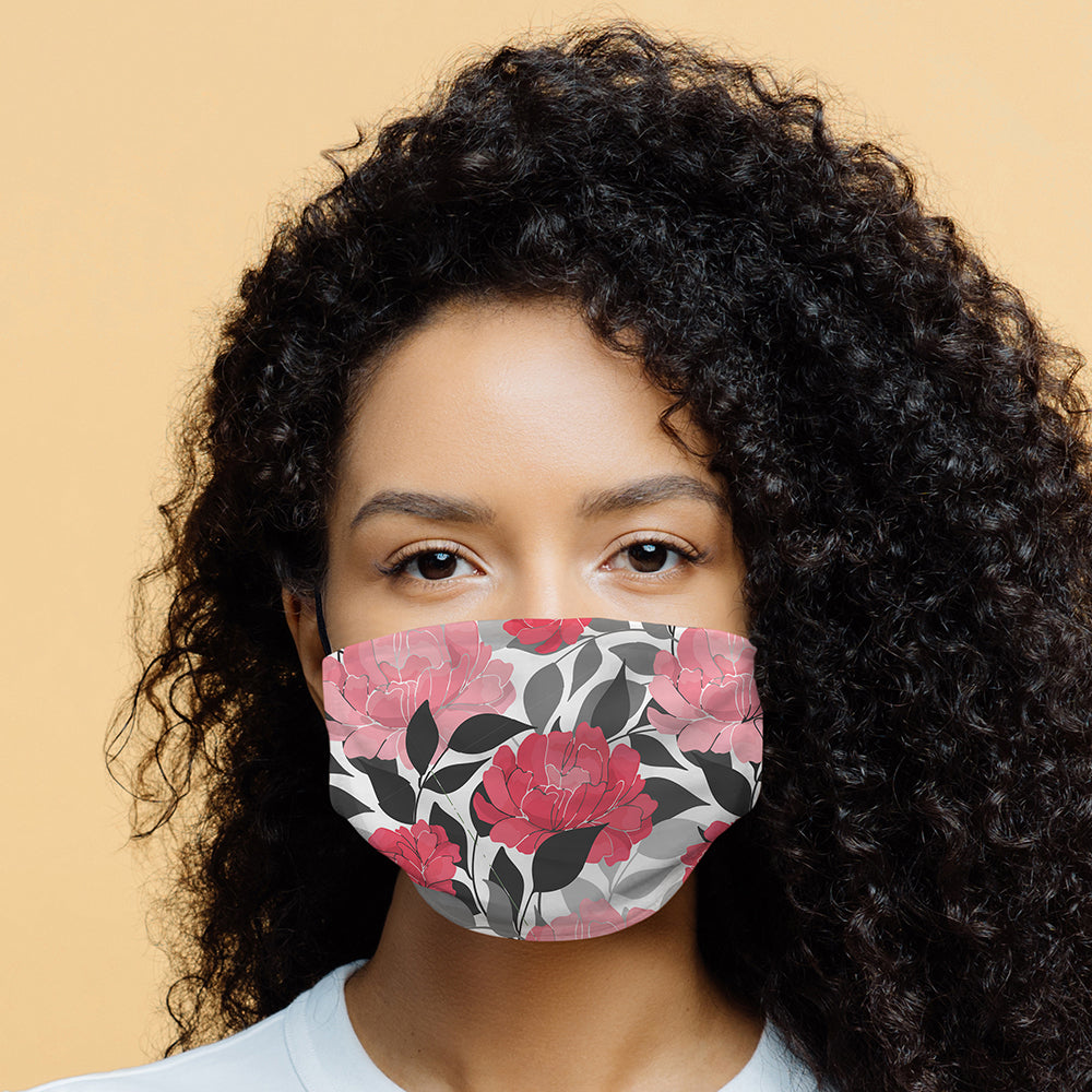 Printed Face Mask - Peonies Pattern Design