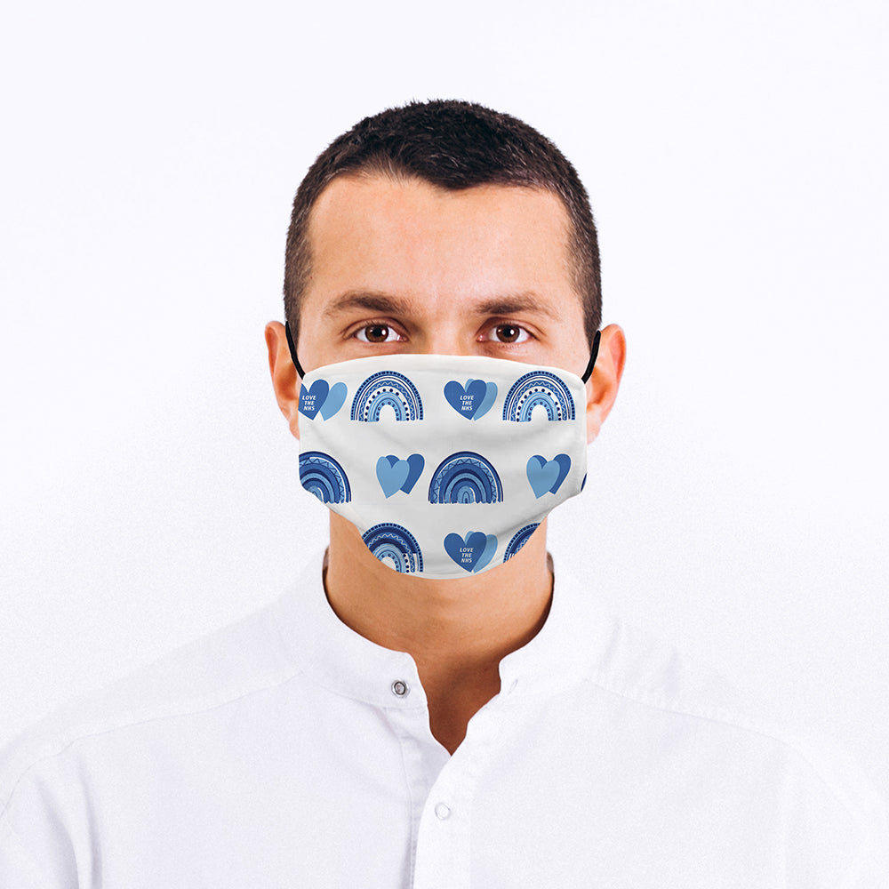 Printed Face Mask - Blue Rainbows Design