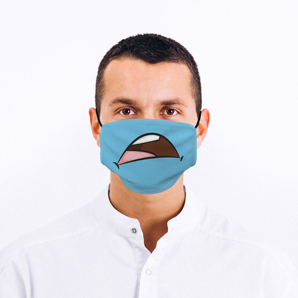 Printed Face Mask - Sad Mouth Design