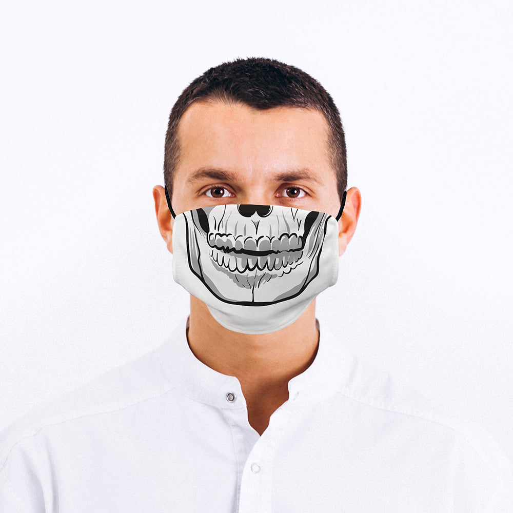 Printed Face Mask - Skull Mouth Design