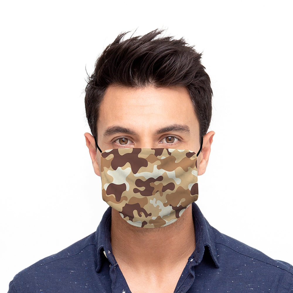Printed Face Mask - Tan Camo Design