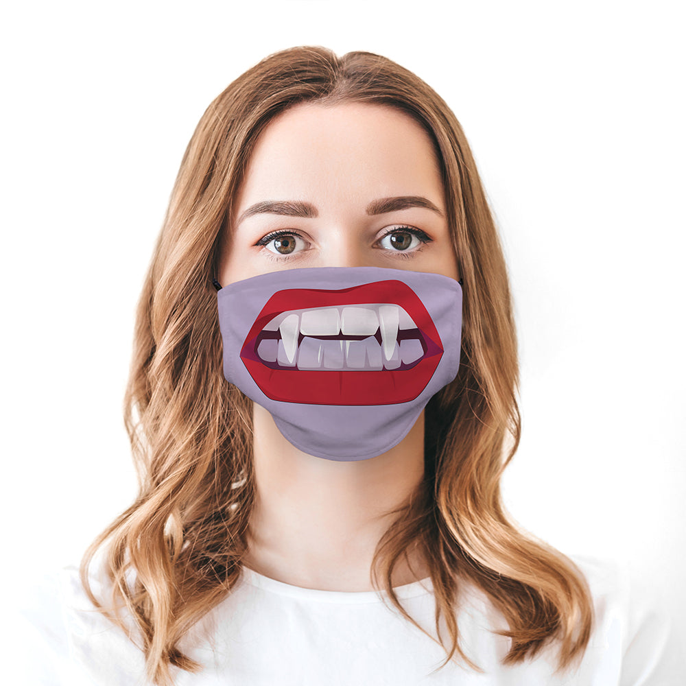 Printed Face Mask - Vampire Mouth Design