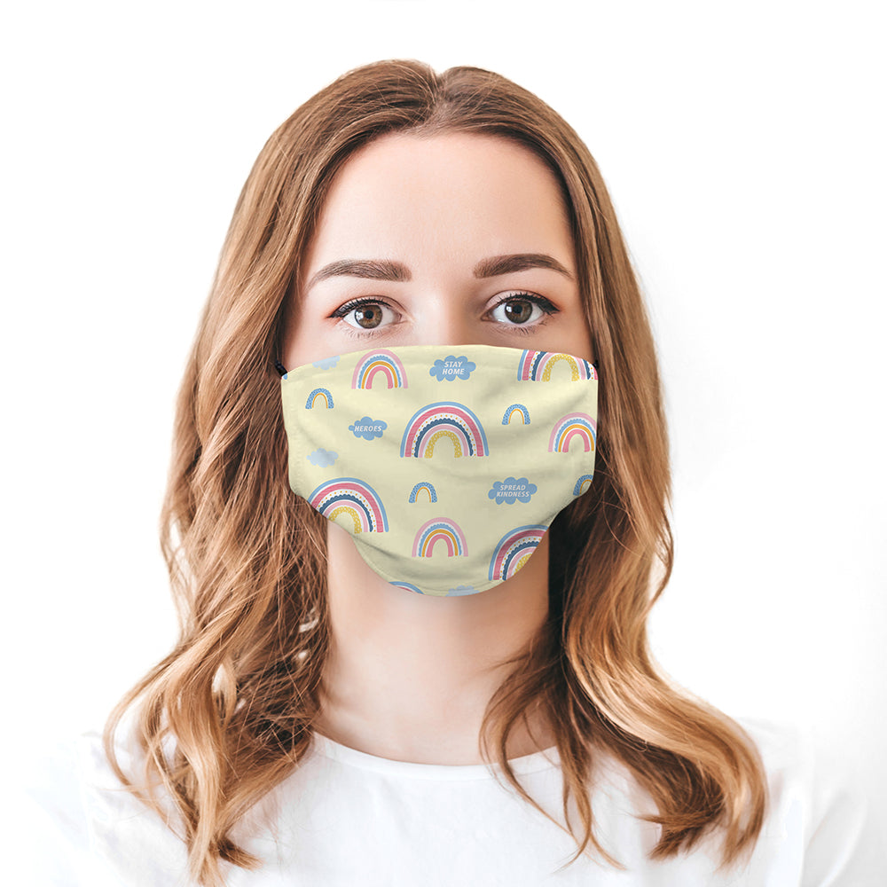 Printed Face Mask - Yellow Rainbow Pattern Face Mask