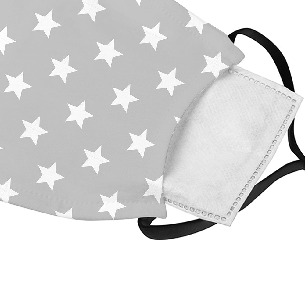 Printed Face Mask - Grey Stars Pattern Face Mask