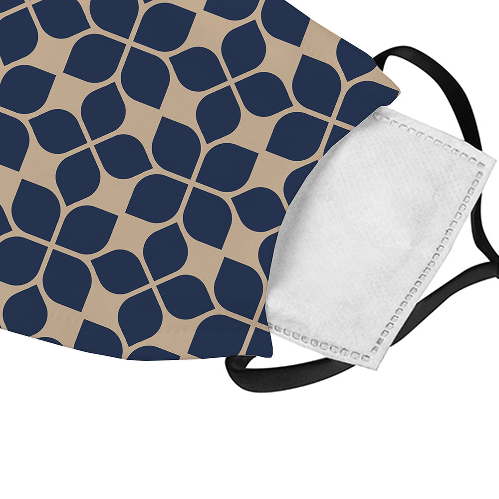 Printed Face Mask - Navy Fleur Pattern Face Mask