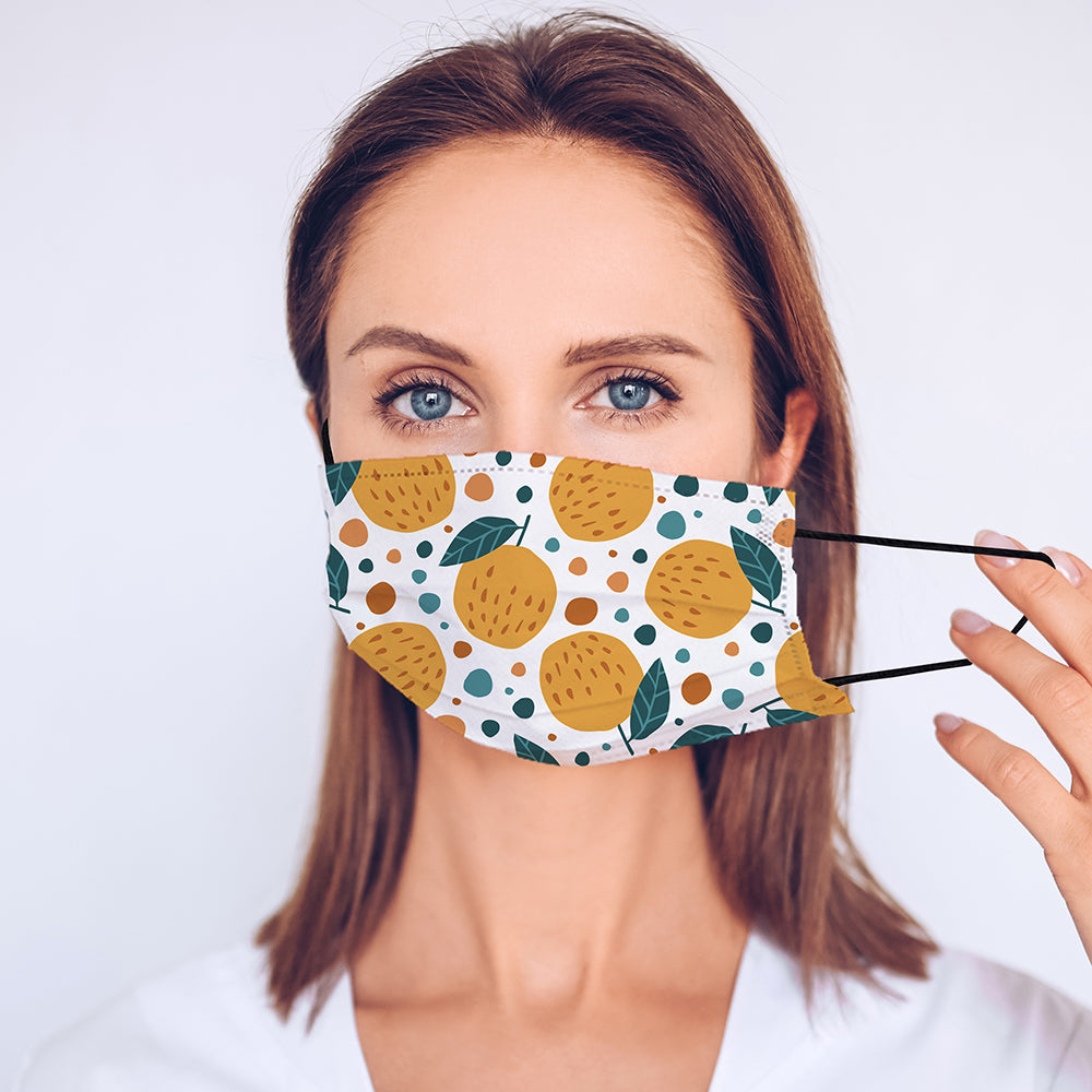 Printed Face Mask - Clementines Pattern Design