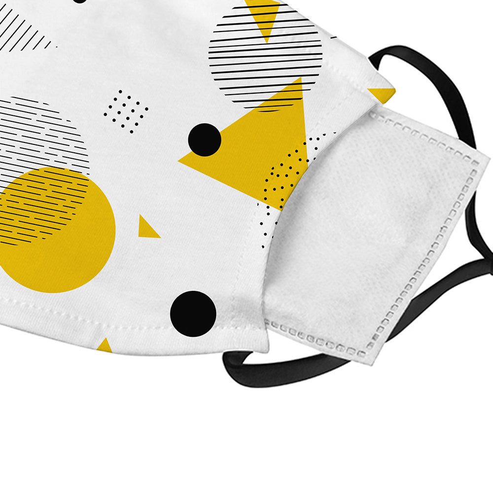 Printed Face Mask - Yellow Geometric Shapes Face Mask