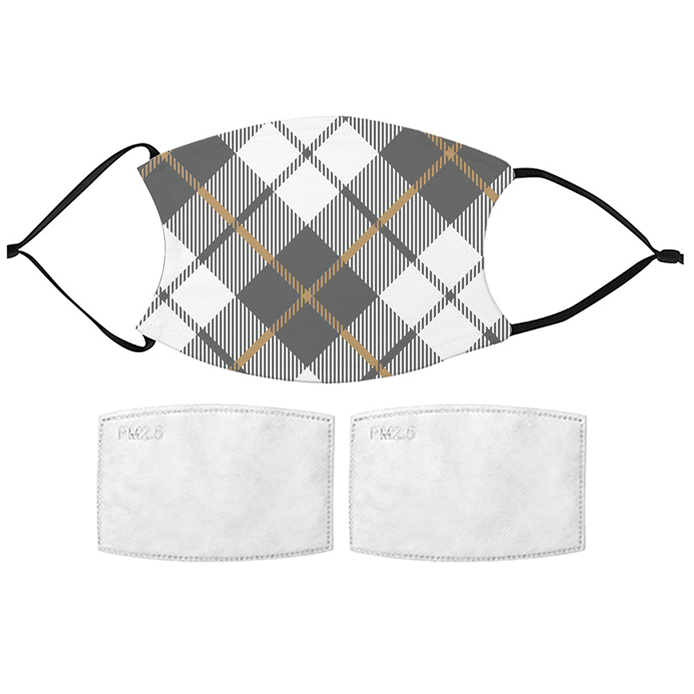 Printed Face Mask - Grey Plaid Face Mask