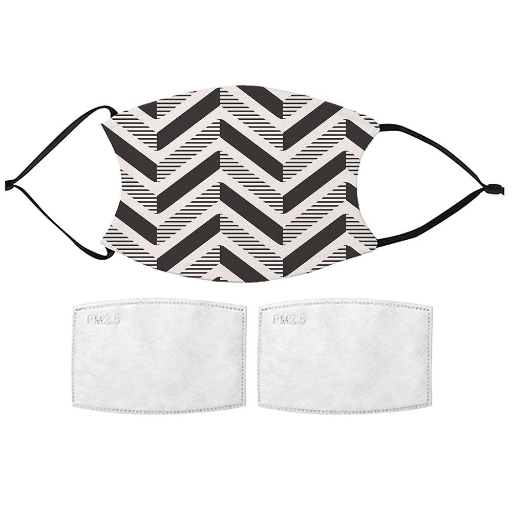 Printed Face Mask - Black Herringbone Pattern Face Mask