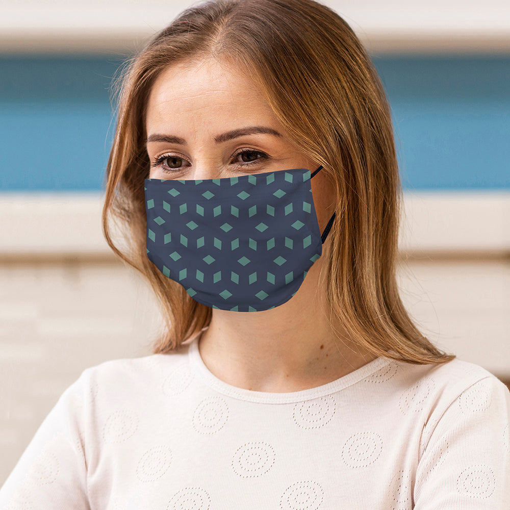 Printed Face Mask - Diamond Pattern Face Mask
