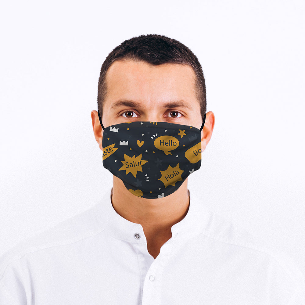 Printed Face Mask - Yellow Hello World Face Mask