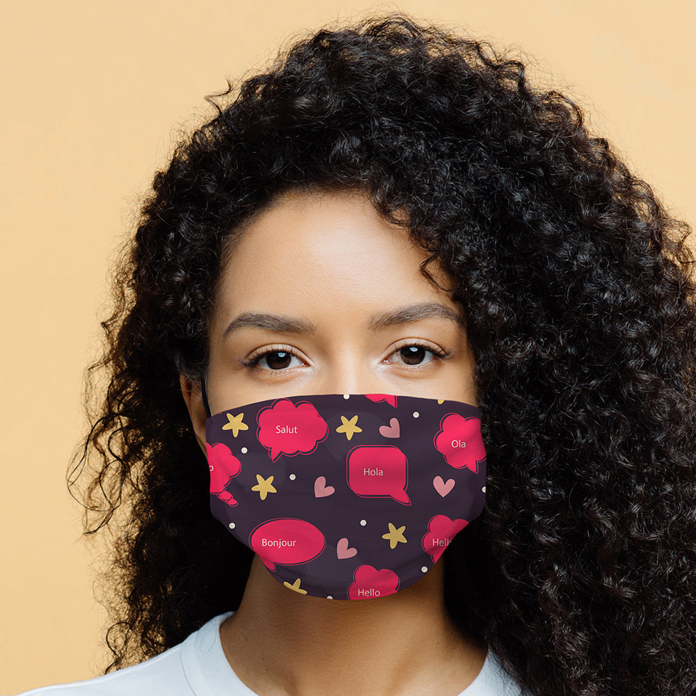 Printed Face Mask - Pink Hello World Face Mask