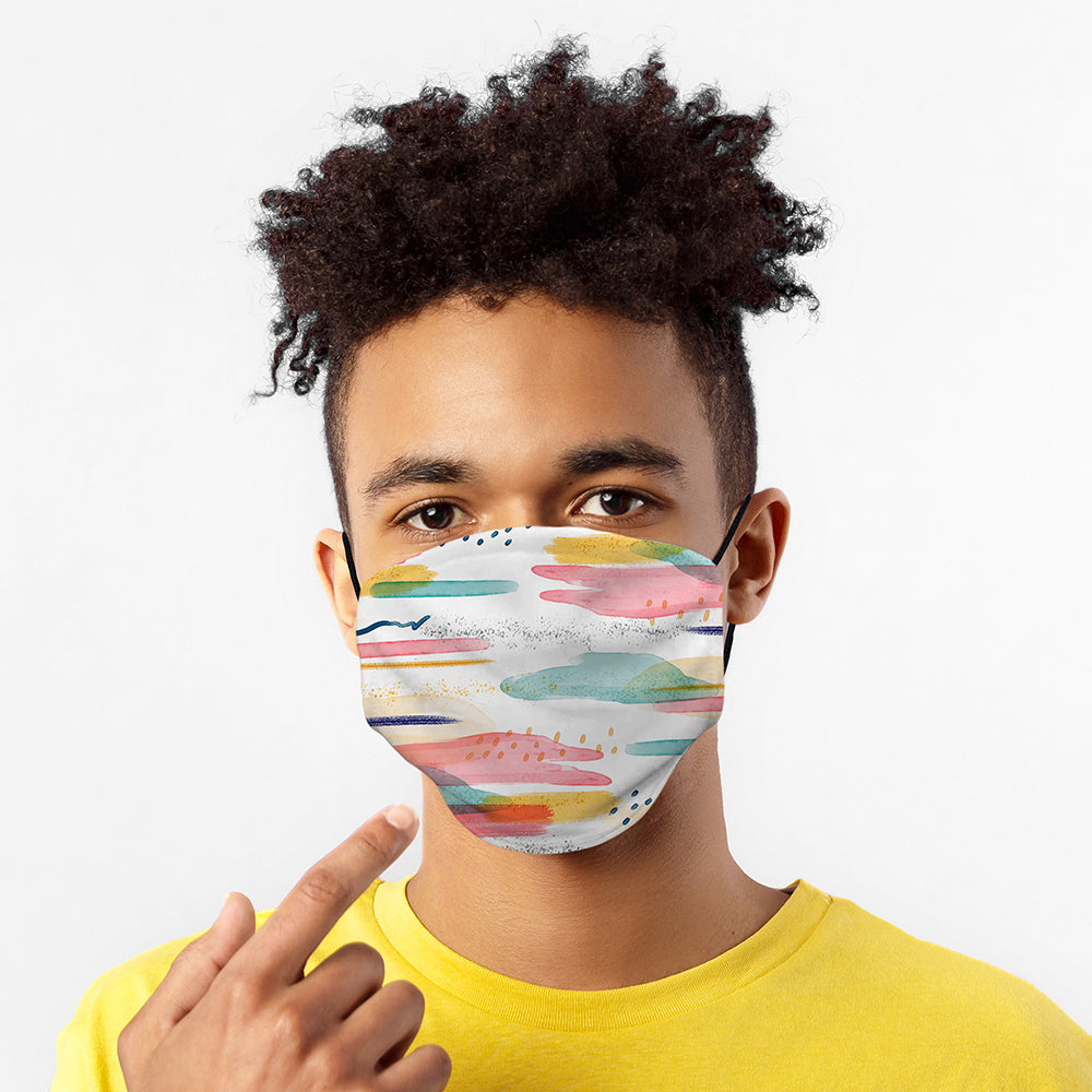 Printed Face Mask - Colourful Brush Strokes