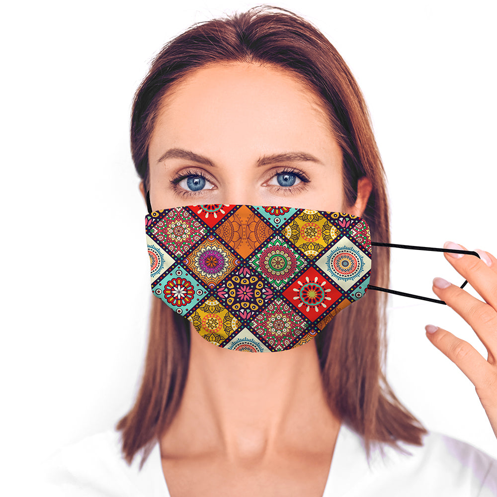 Printed Face Mask - Colourful Tile Pattern