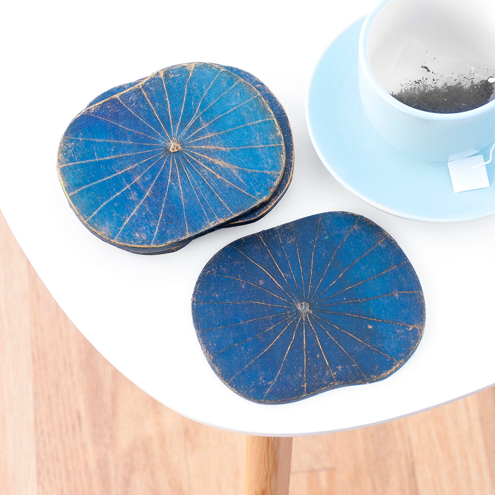 Blue Lotus Leaf Coasters - Set of Six
