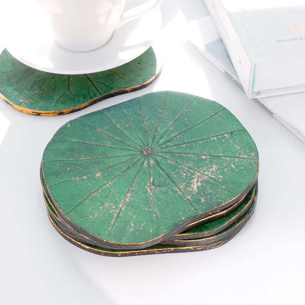 Green Lotus Leaf Coasters - Set of Six