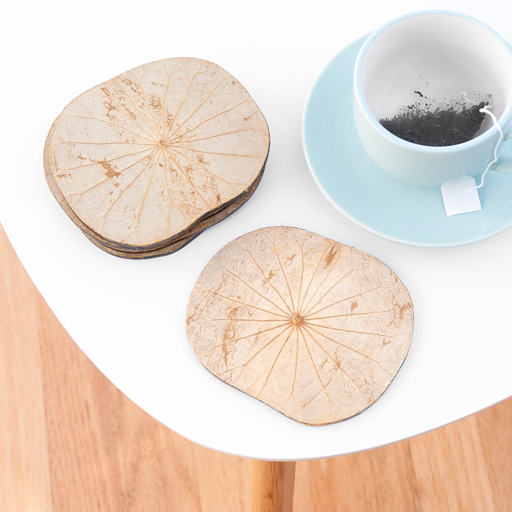 Natural Lotus Leaf Coasters - Set of Six
