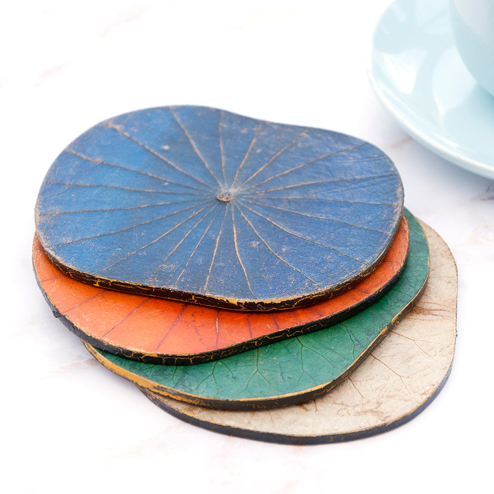 Orange Lotus Leaf Coasters - Set of Six