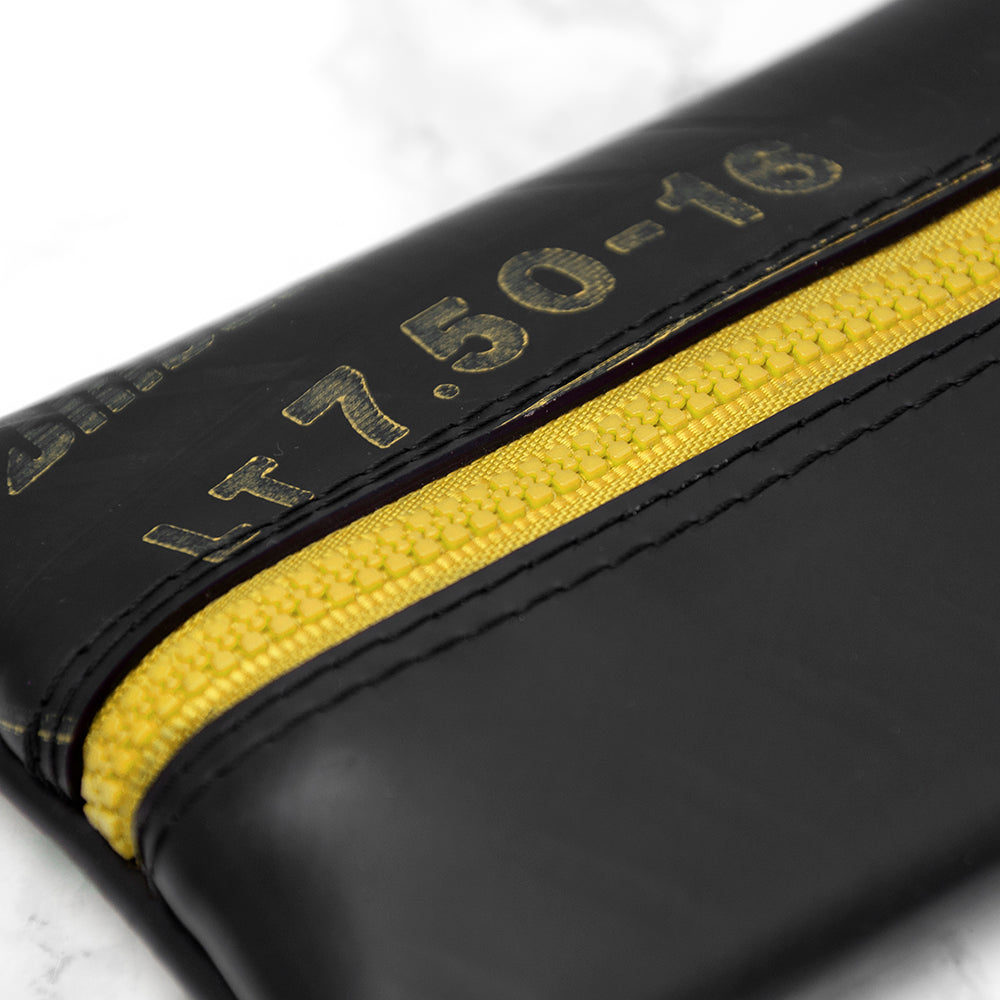 Upcycled Truck Tyre Rubber Flat Pencil Case - Yellow