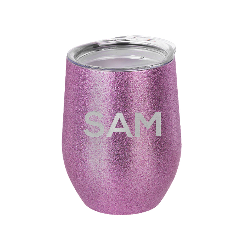 Personalised Insulated Stemless Glitter Wine Tumbler