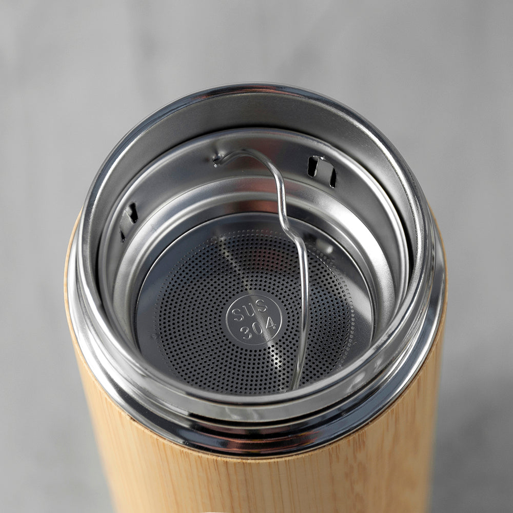 Personalised Bamboo Thermos Flask with Tea Strainer 360ml