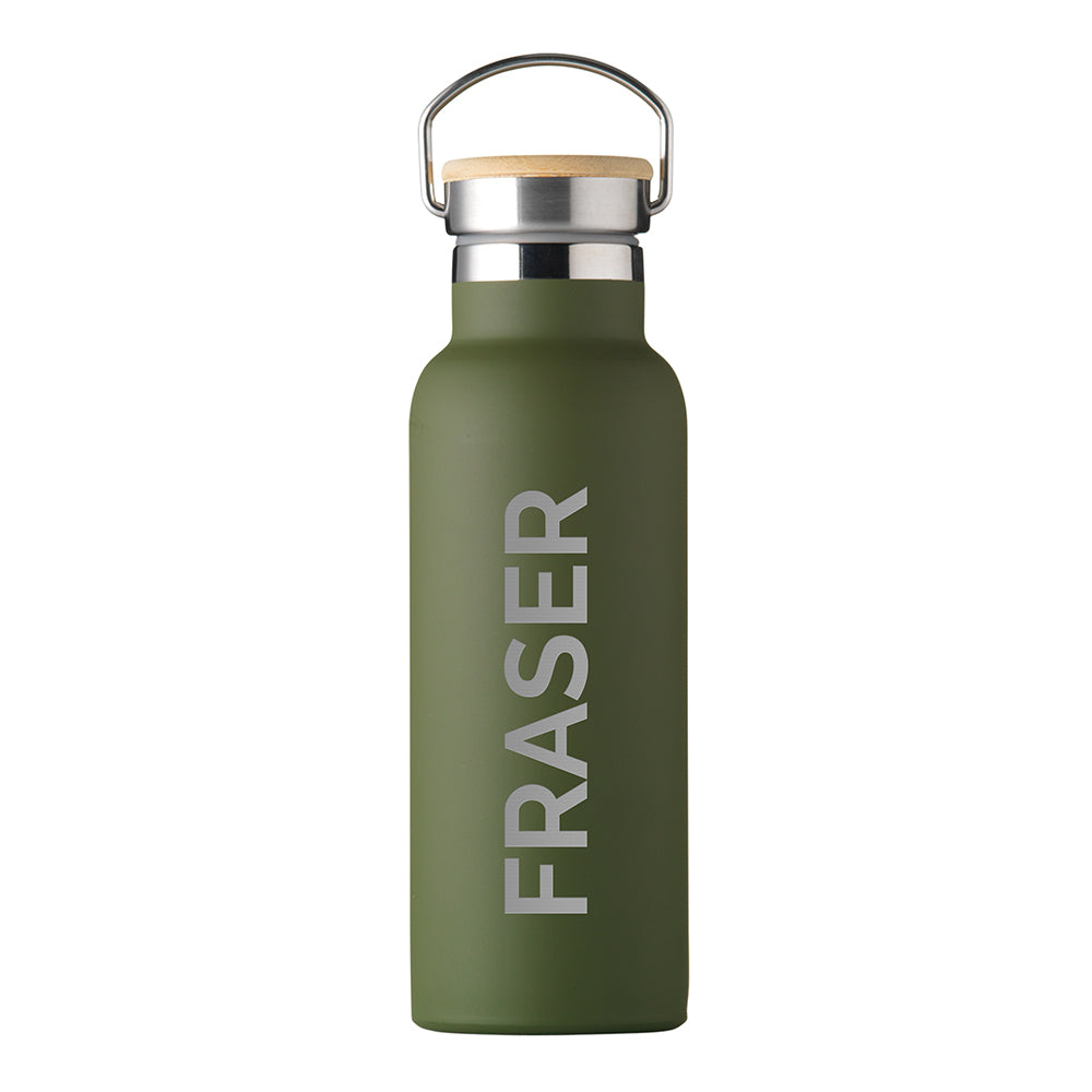 Personalised Jungley Insulated 17oz Drinks Bottle with Bamboo Lid - Vertical