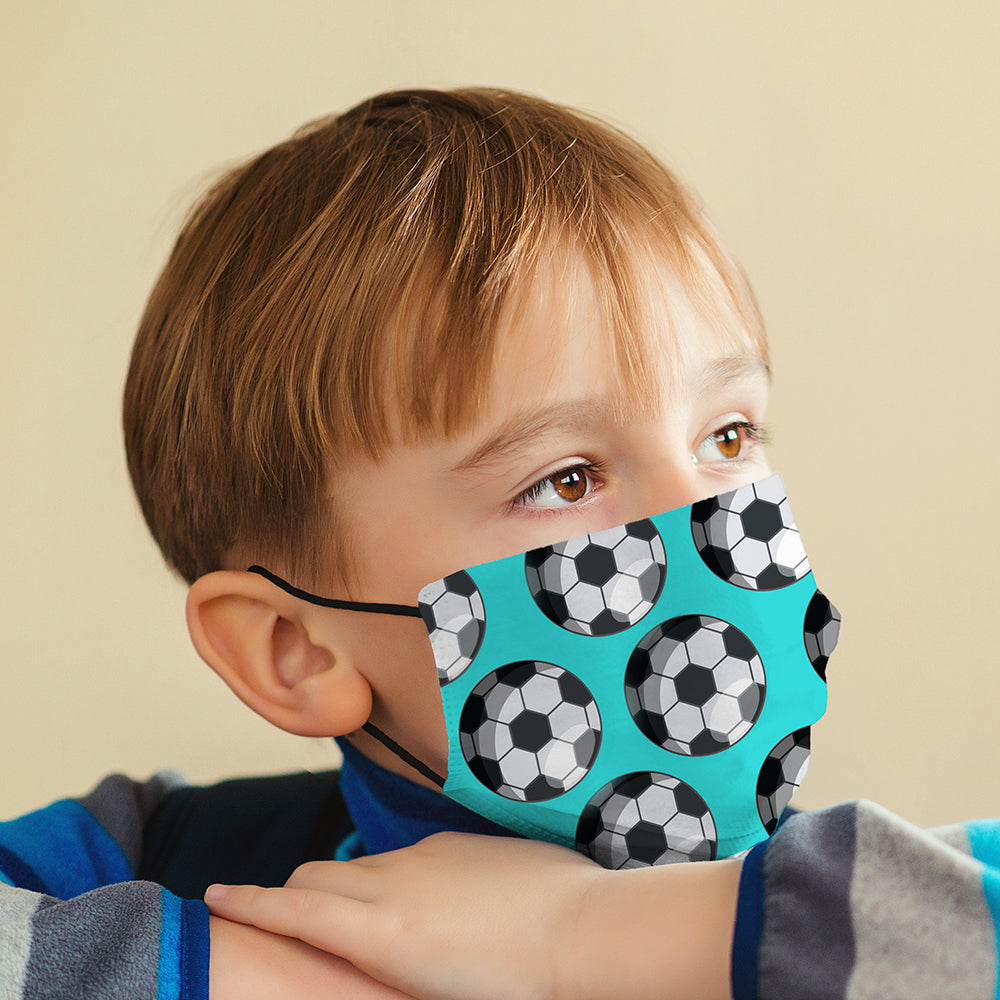 Kids Printed Face Mask - Football