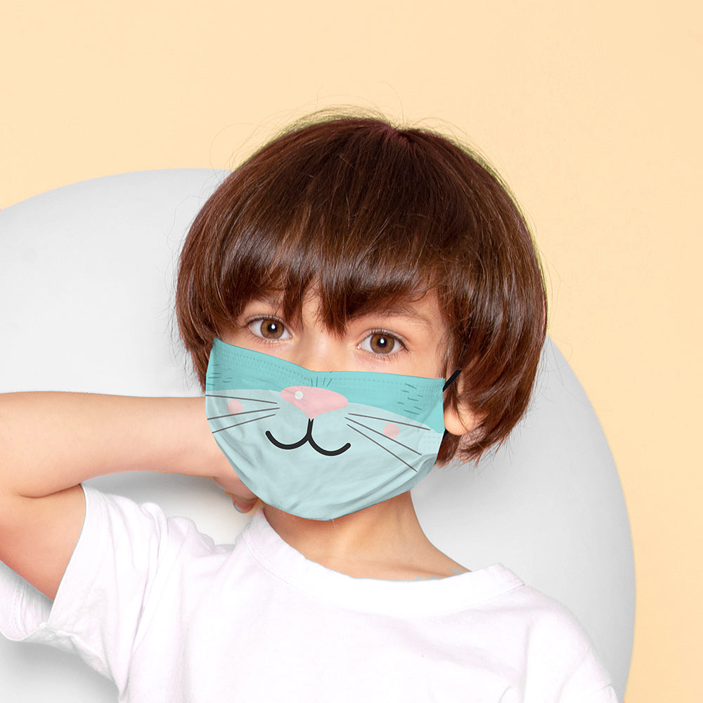 Kids Printed Face Mask - Kitten Nose