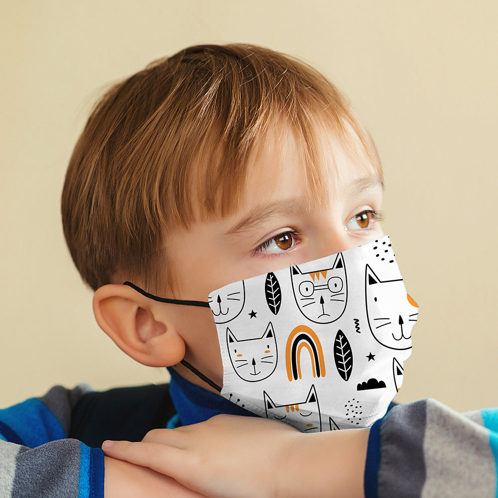 Kids Printed Face Mask - Scandi Cat