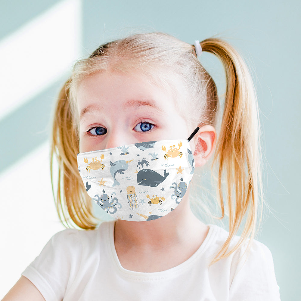 Kids Printed Face Mask - Sealife