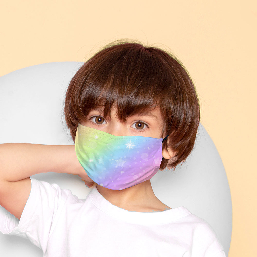 Kids Printed Face Mask - Sparkle Rainbow