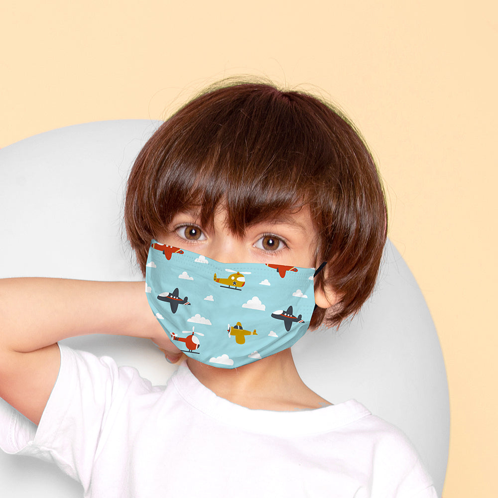 Kids Printed Face Mask - Aeroplane