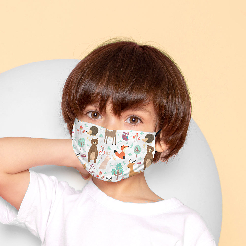 Kids Printed Face Mask - Woodland Animal