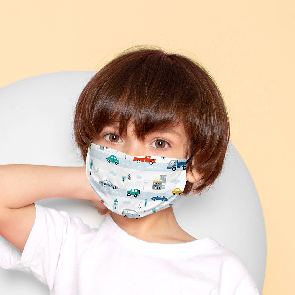 Kids Printed Face Mask - Cars