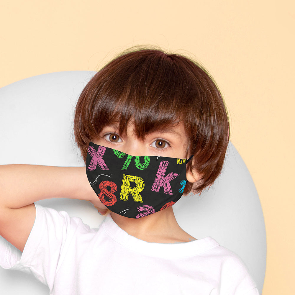 Kids Printed Face Mask - Chalk Board