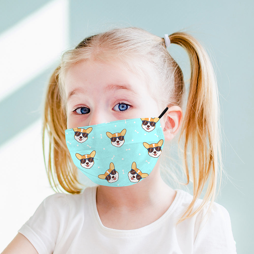 Kids Printed Face Mask - Corgi