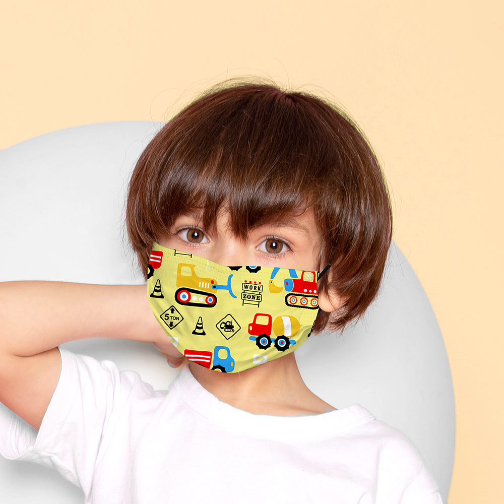 Kids Printed Face Mask - Diggers