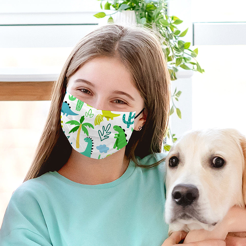 Kids Printed Face Mask - Dinosaur
