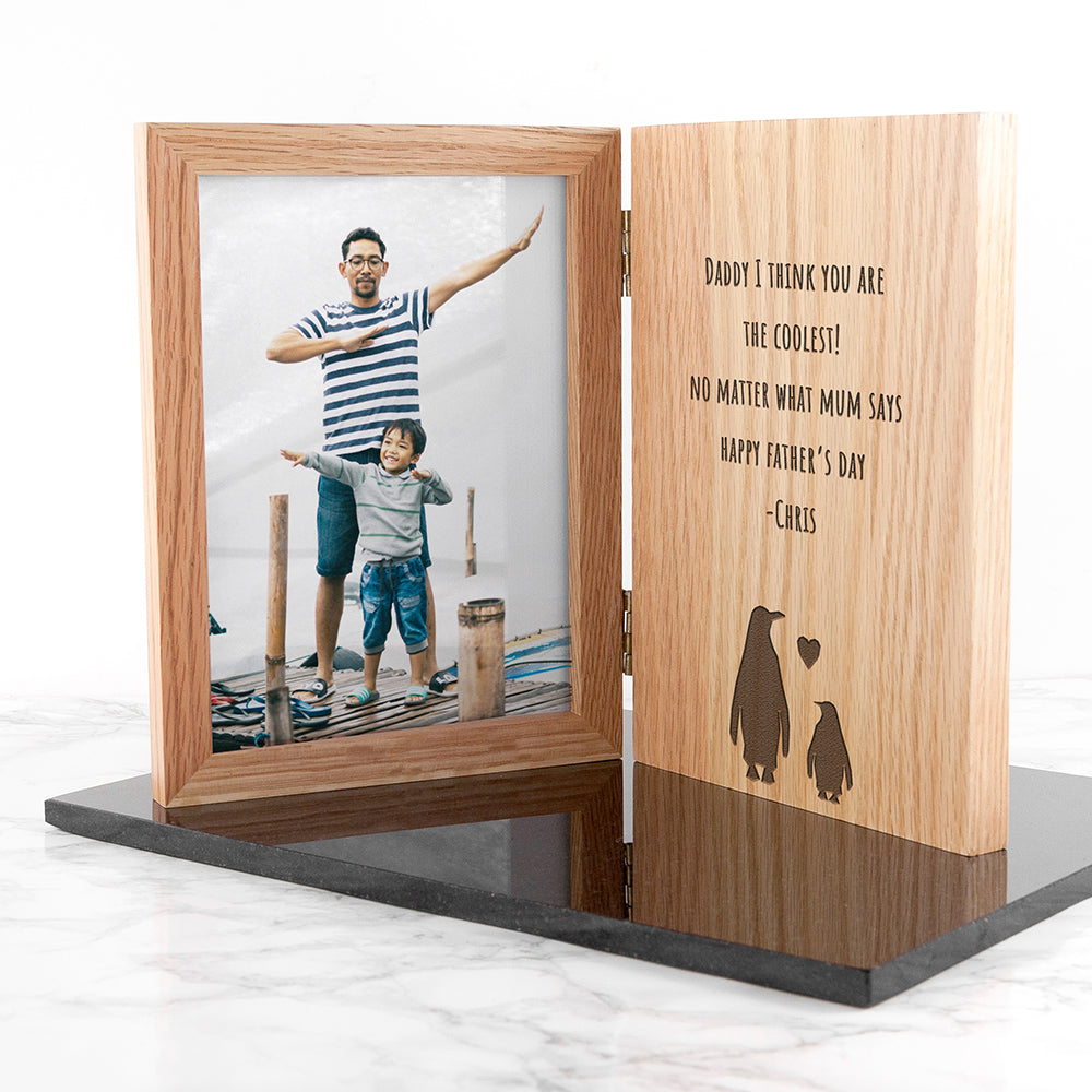 Engraved Father's Day Penguin Book Photo Frame