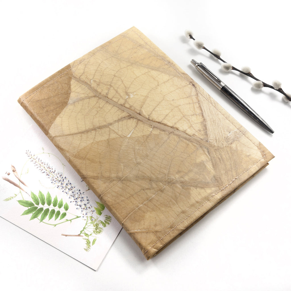 A5 Refillable Leaf Leather Journal - Natural