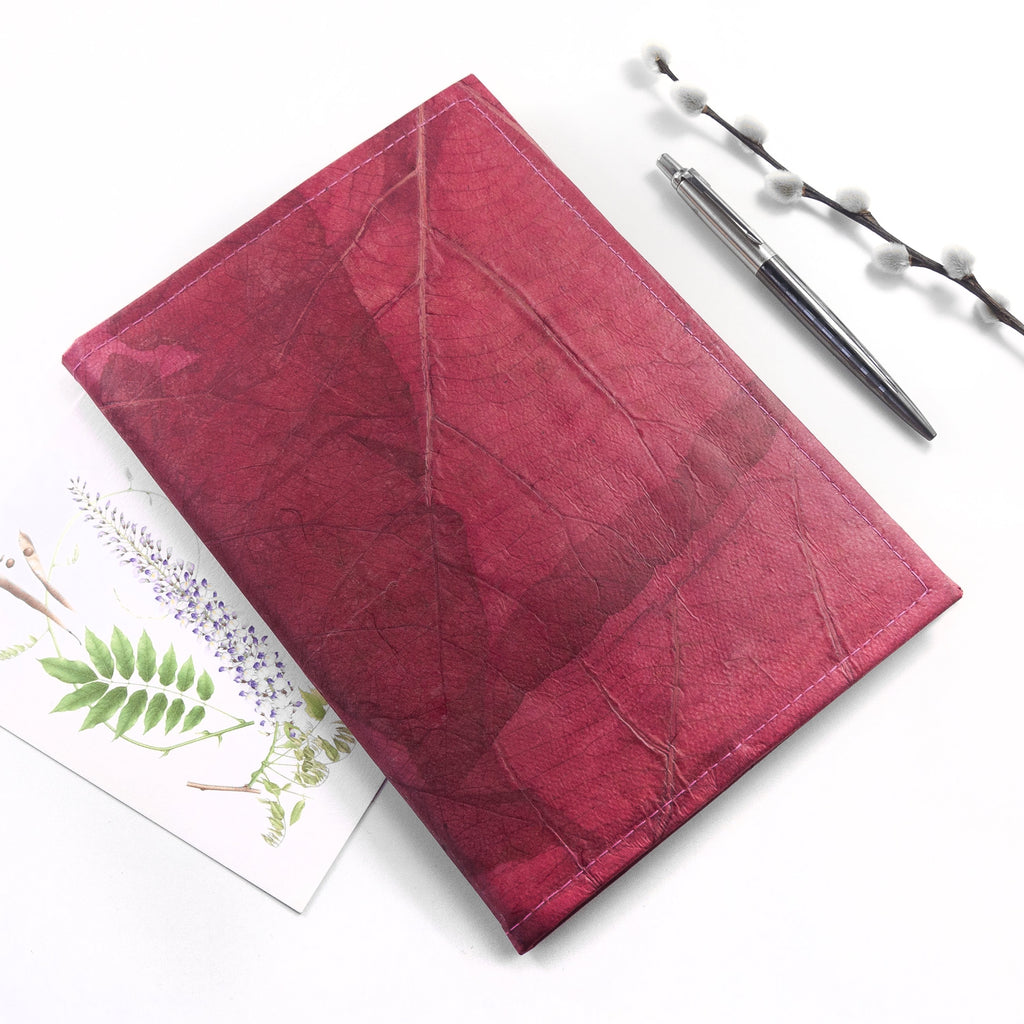 A5 Refillable Leaf Leather Journal - Pink Coral