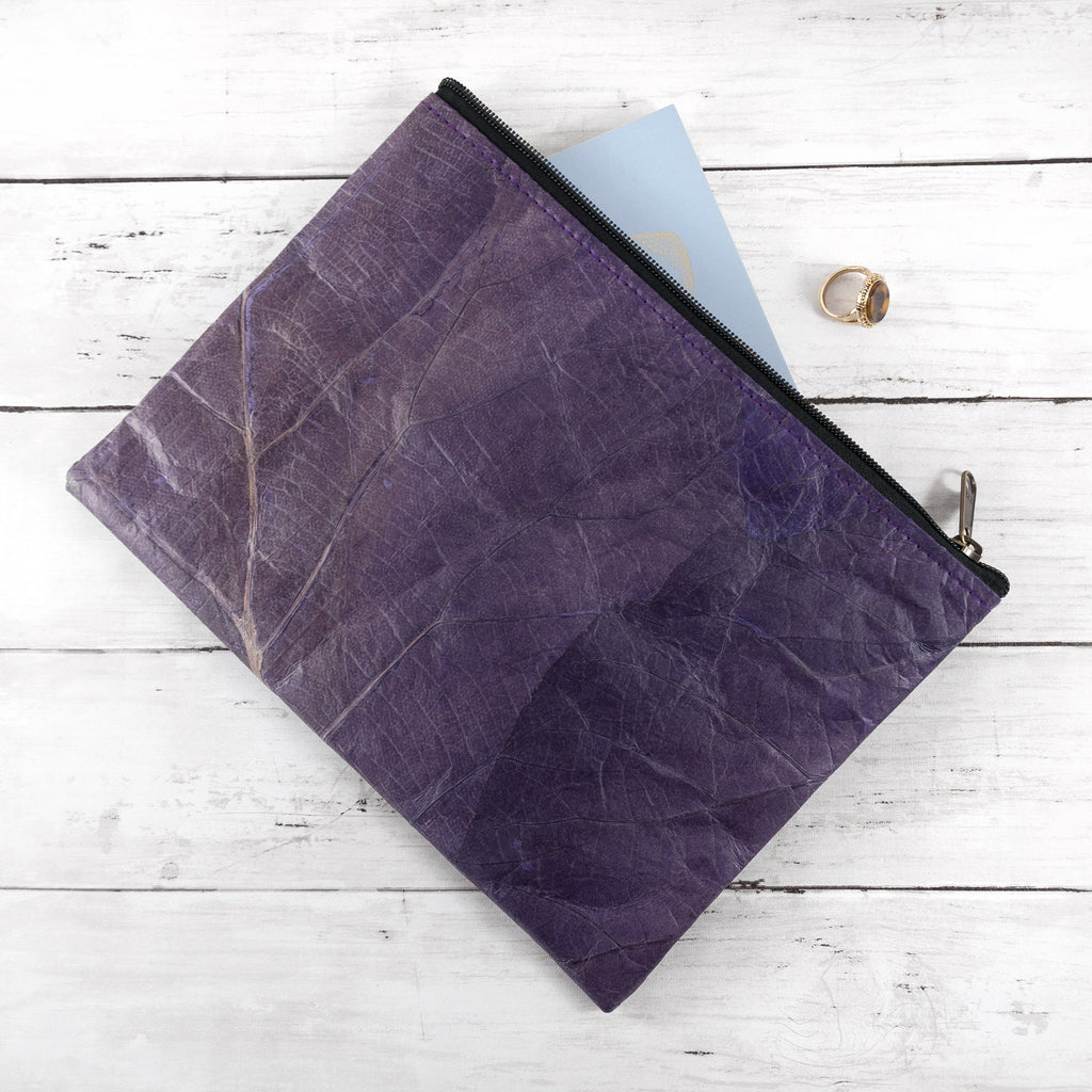 Clutch Bag in Leaf Leather - Dark Lavender