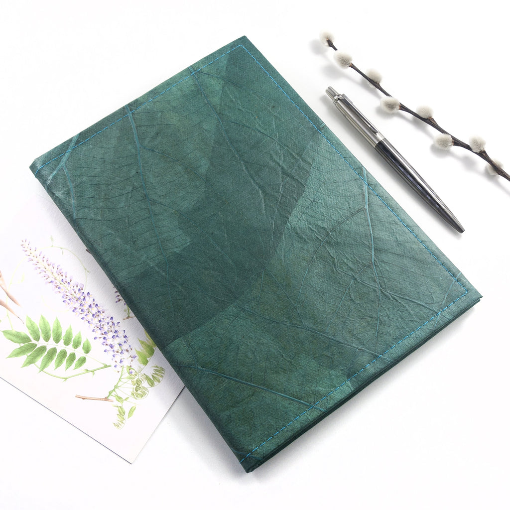 A5 Refillable Leaf Leather Journal - Teal