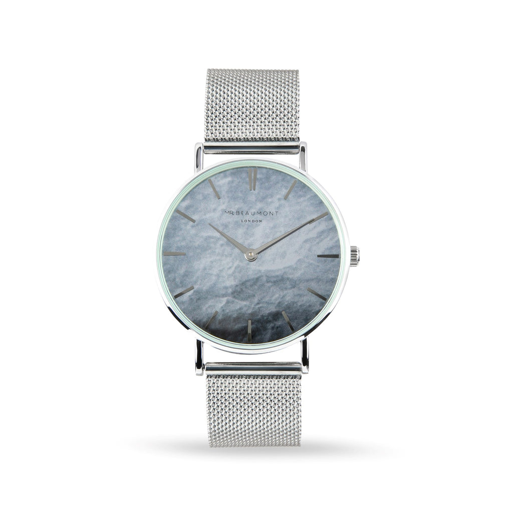 Mr Beaumont Men's Personalised Carbon Silver Mesh Watch