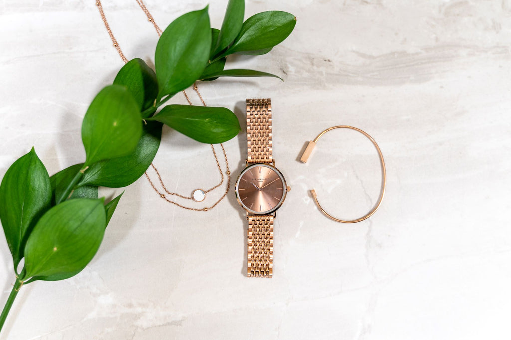 Elie Beaumont Ladies Personalised Bracelet Watch in Rose Gold and Coffee