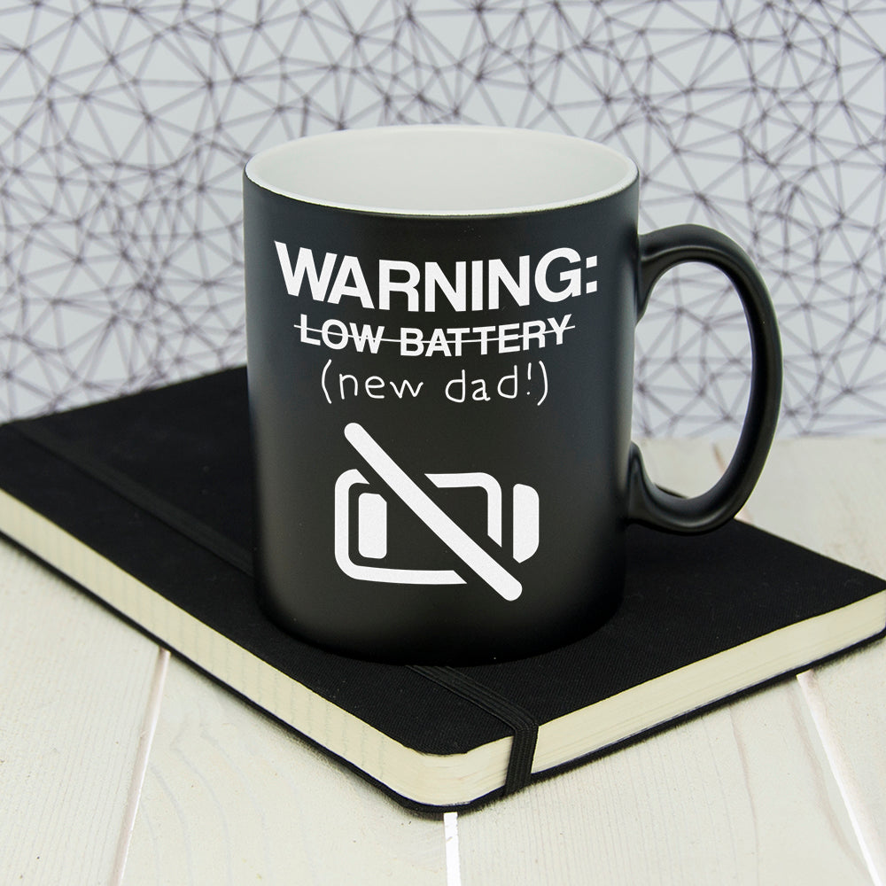 Personalised Warning: New Dad Black Matte Mug