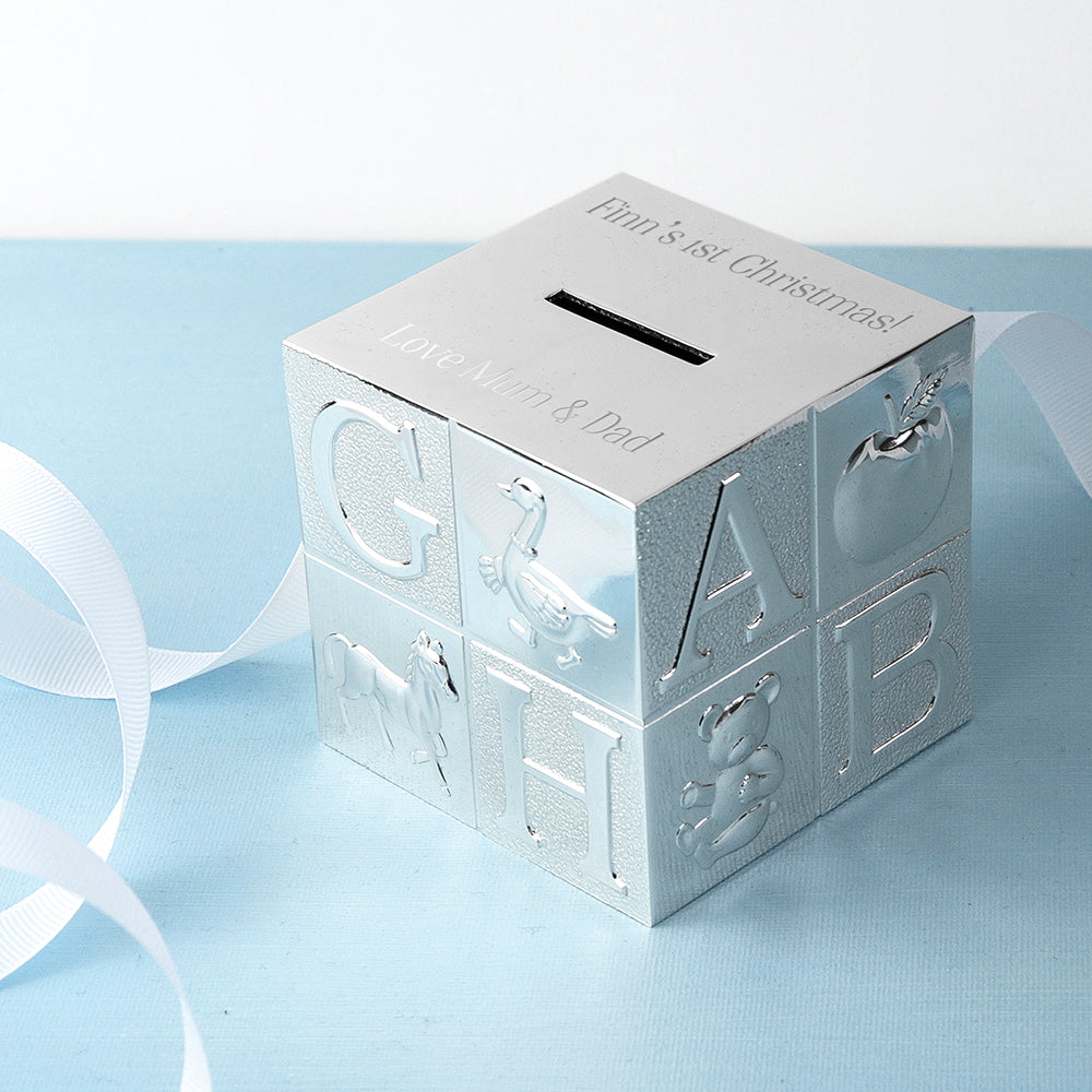 Personalised Silver Plated Alphabet Square Money Box - treat-republic