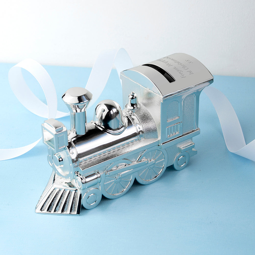 Personalised Silver Plated Train Money Box - treat-republic